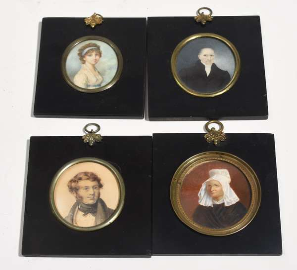 """Four miniature portraits; watercolor of young man, 3"""" x 2"""", and three oils on ivory, young woman signed J.E., 2.75"""" x 2"""", abbesse dated 1796, 3"""" x 2.5"""" and gentleman, 3"""" x 2.5"""""""