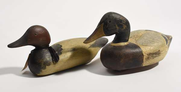 """Duck decoy by Ducks Unlimited, Lac LaCroix colllection, 16""""L., with a Mason canvas back duck decoy"""