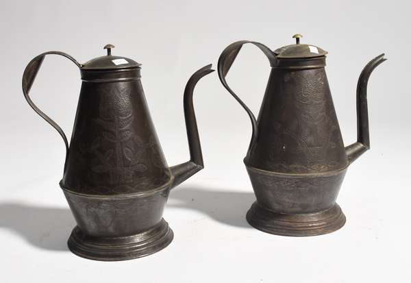 """Two punched tin coffee pots, 11""""H."""