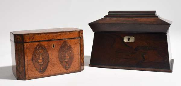 """Two English 19th C. tea caddies, example with mother-of-pearl inlay 9.5""""L. x 7""""H., with other example with urn inlay, 7.5""""L. x 5""""H."""