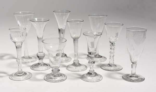 """Collection of ten 18th C. small wines, 4.5""""-7""""H."""