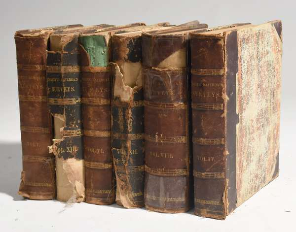 """Six volumes of early railroad survey books, """"Report of Lieut. Henry L. Abbot, Upon Exploration for a Railroad Route from the Sacramento Valley to the Columbia River"""", 1855"""