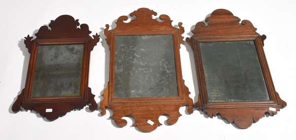 """Three small sized early Chippendale wall mirrors, 17.5""""H. - 21""""H."""