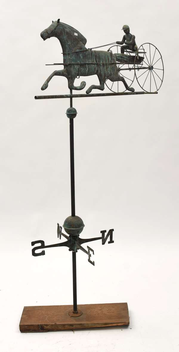 """Vintage Horse & sulky weathervane, with directionals 34""""L."""