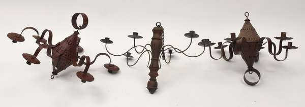 """Three hanging chandeliers, two punched tin 16""""H., with a wooden and iron example, 15""""H."""