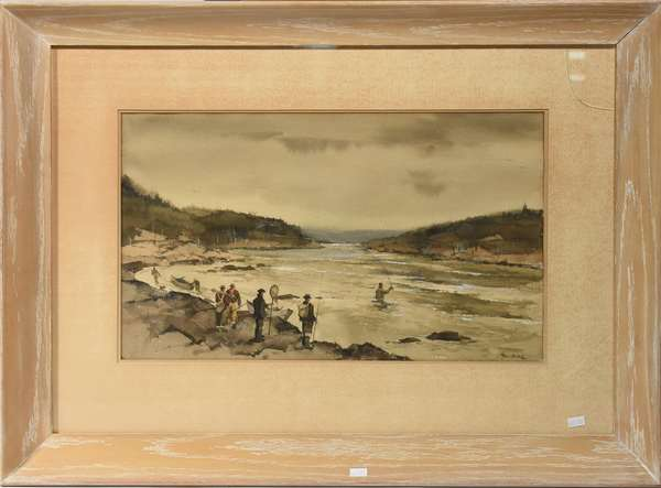 """Paul Sample watercolor, fly fishing scene on river, 11.75""""H. x 19.5""""W. sight"""