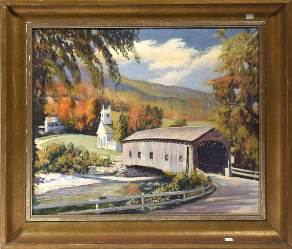 """Gilbert Smith framed oil on canvas, """"The Covered Bridge at West Arlington, Vermont"""" 20"""" x 24"""""""