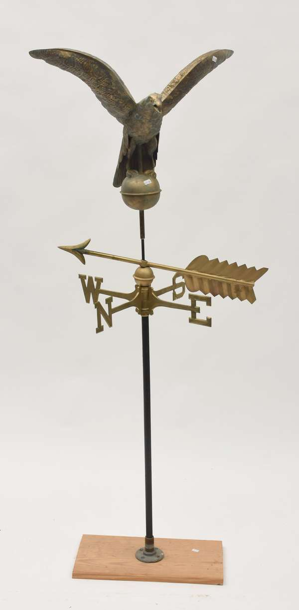 """Antique flying eagle weathervane with directionals, on base 20""""H."""