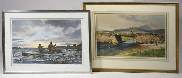 """Two pencil signed Ogden Pleissner sporting lithographs, fishing scene, 15"""" x 24"""", with duck hunting scene, 16"""" x 24.5"""""""
