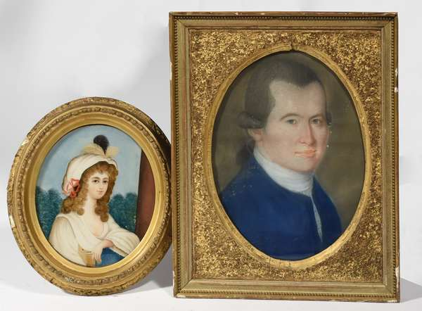 """18th C pastel portrait of a gentleman, 13"""" x 10"""", with a China Trade reverse painting on glass of girl, 8"""" x 7"""""""