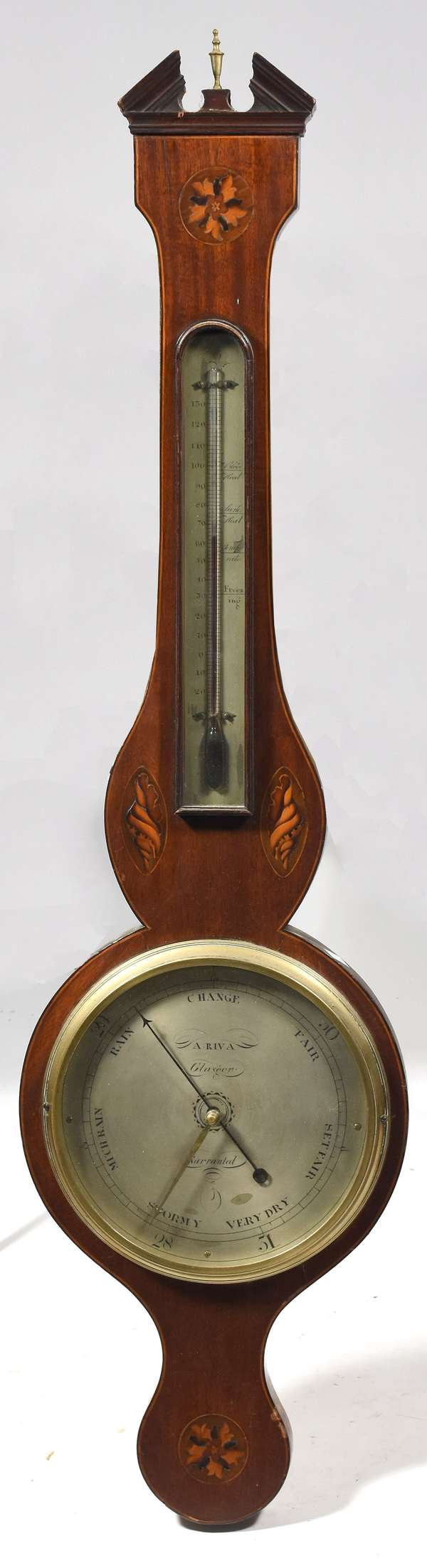 "19th C. Barometer A. Riva, Glasgow, inlaid wagon wheel design, 39""H."