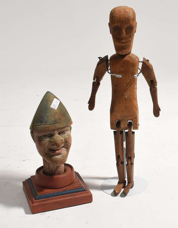 """Primitive American Folk Art jointed doll, 13.5""""H., with 19th C. painted wooden carving of punch, 9""""H."""