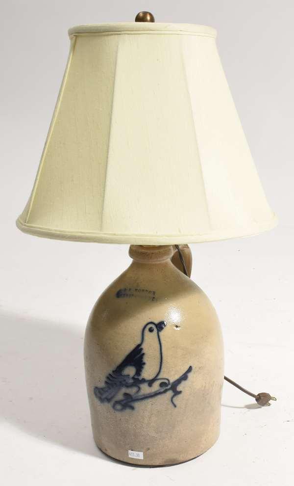 """Cobalt decorated stoneware jug converted to a lamp, Norton, Bennington VT, 11""""H. jug"""