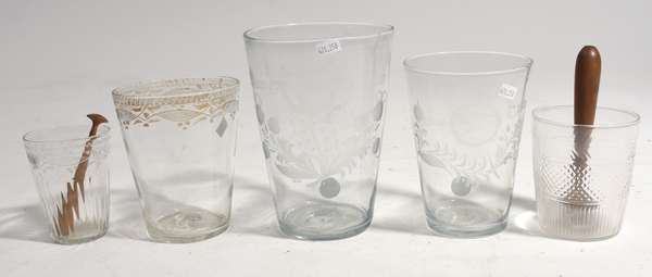 """Five early etched flip glass tumblers 4""""-7.5""""H."""