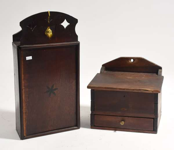 """Two hanging wall boxes, candle box with slide front, 19""""H., with a salt box, 10""""H. (204,136)"""