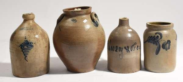 Four cobalt decorated stoneware jugs