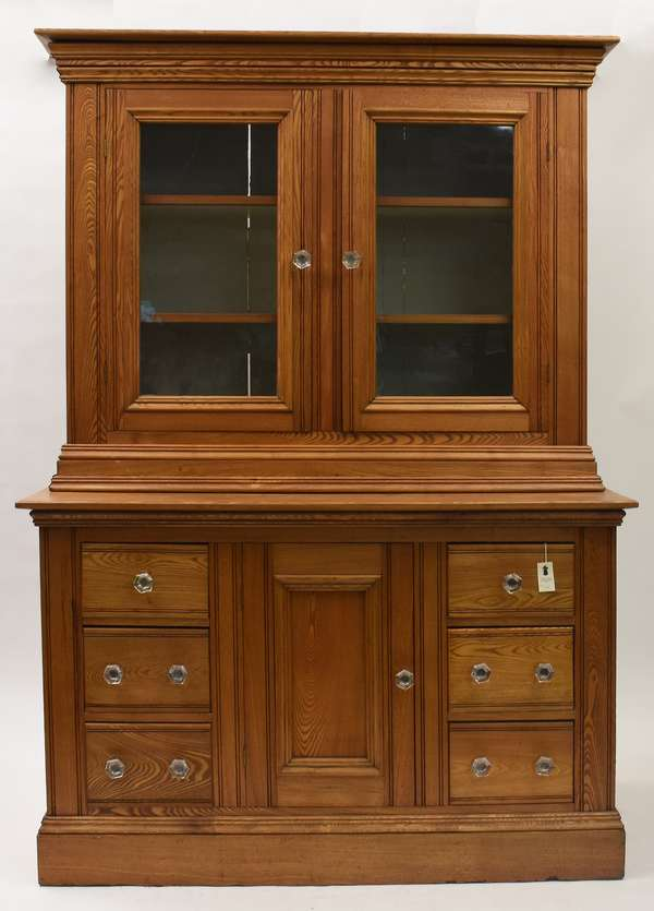 """Large oak country store display cabinet, ca.1890, from a VT country drugstore, 81""""H. x 27""""D. x 57.5"""""""