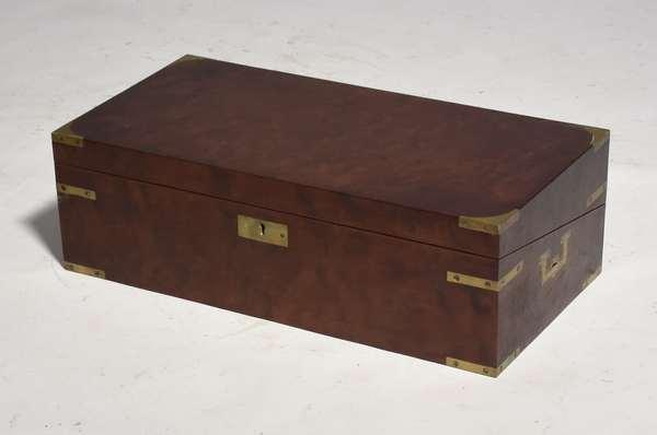 "19th C. travel writing desk, brass bound, with writing utensils, 20"" x 10""W. x 6.5""H."