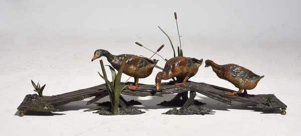 Cold painted bronze sculpture, mallard ducks on wood