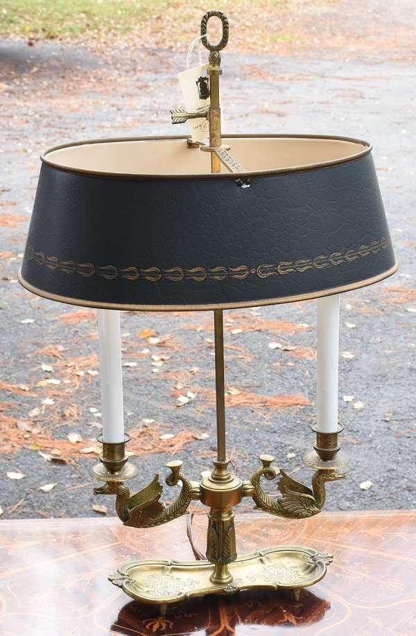 """Italian bronze and toleware bouillotte lamp, 24""""H."""