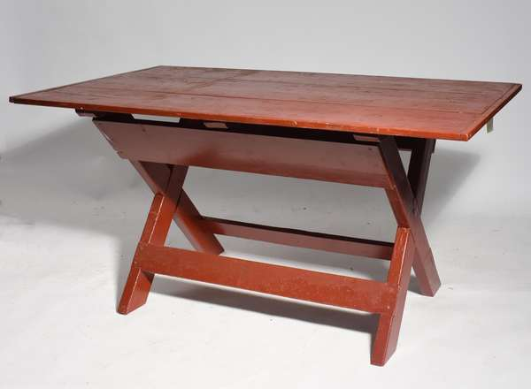 Country sawbuck table in red paint