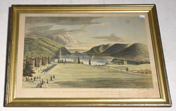 """19th C. engraving """"West Point Military Academy"""", drawn by G. Catlin, engraved by J. Hill, 11.75"""" x 18.5"""" plate"""