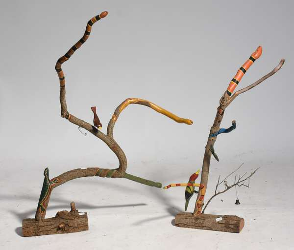 "Two South Carolina folk art branch sculptures-birds and snakes, 24"",29""H."