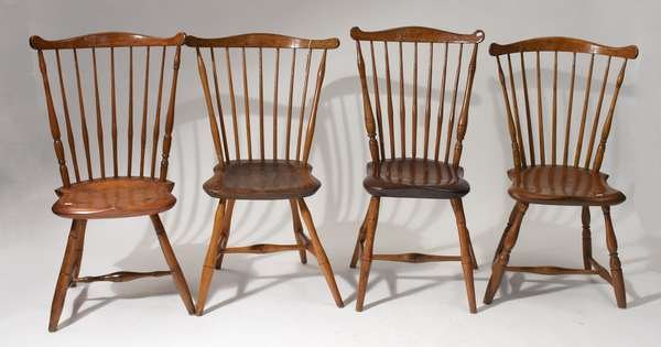 Four similar early 19th C. country fan back Windsor chairs