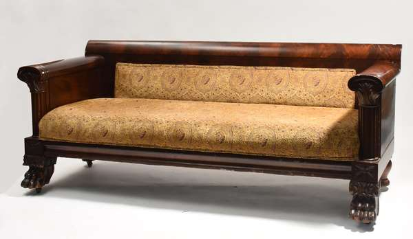 """19h C. Classical mahogany sofa with large paw feet, Phil. family 83""""L. x 32""""H."""
