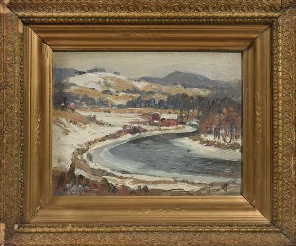 """Oil on board signed Arthur J.E. Powell, N.A., """"South of Dover Village"""", inscribed on reverse, """"A reward of merit for assisting in running our store"""", 8"""" x 10"""""""