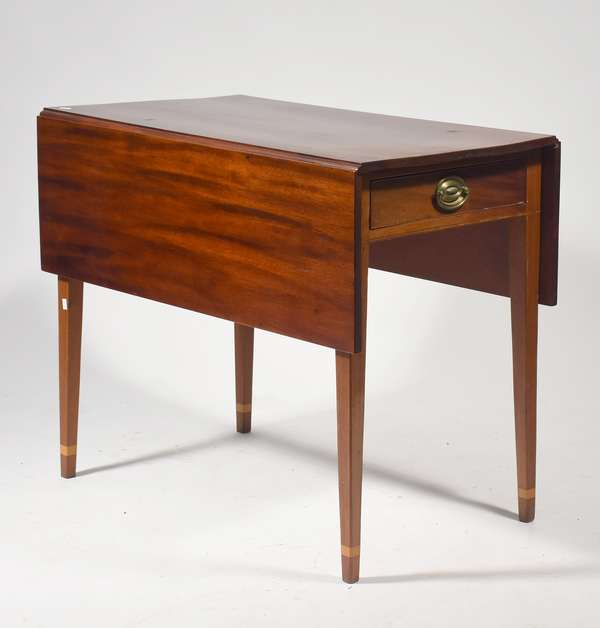"""Inlaid Hepplewhite Pembroke table with tapered legs, ca. 1800, 33""""L. x 29""""H."""
