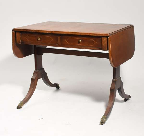 English Regency inlaid mahogany sofa table, with drop leaves ca. 1820