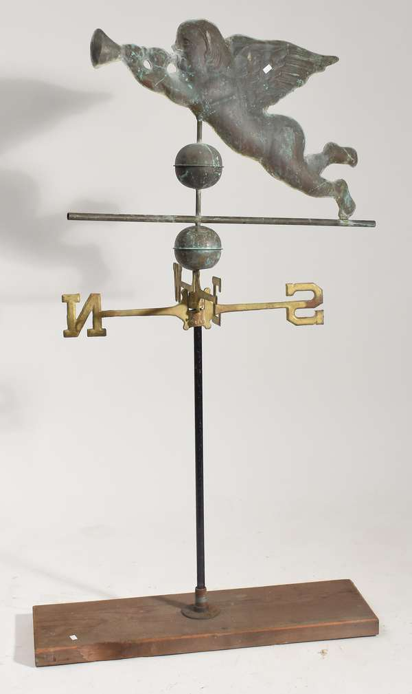 """20th C. weathervane, Gabriel with directionals, 21.5""""H. x 29""""L."""
