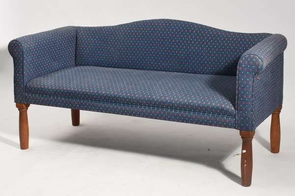"""Clean blue upholstered country sofa, 65""""L."""