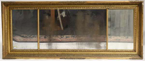 """19th C. carved and gilt over-mantle mirror, three section, 60""""L."""