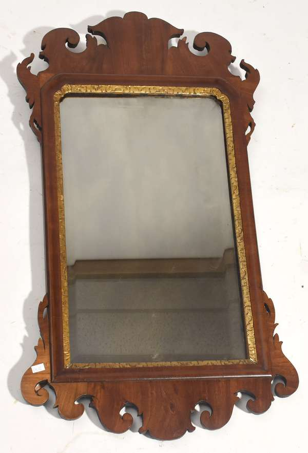 "18th C. Chippendale mahogany mirror 31"" x 18"""
