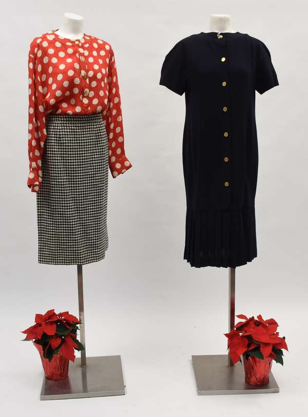 Chanel Boutique, Paris, red and white polka dot silk blouse with a Chanel Boutique black checked skirt, along with a Chanel Boutique black dress with gold buttons (518-40)