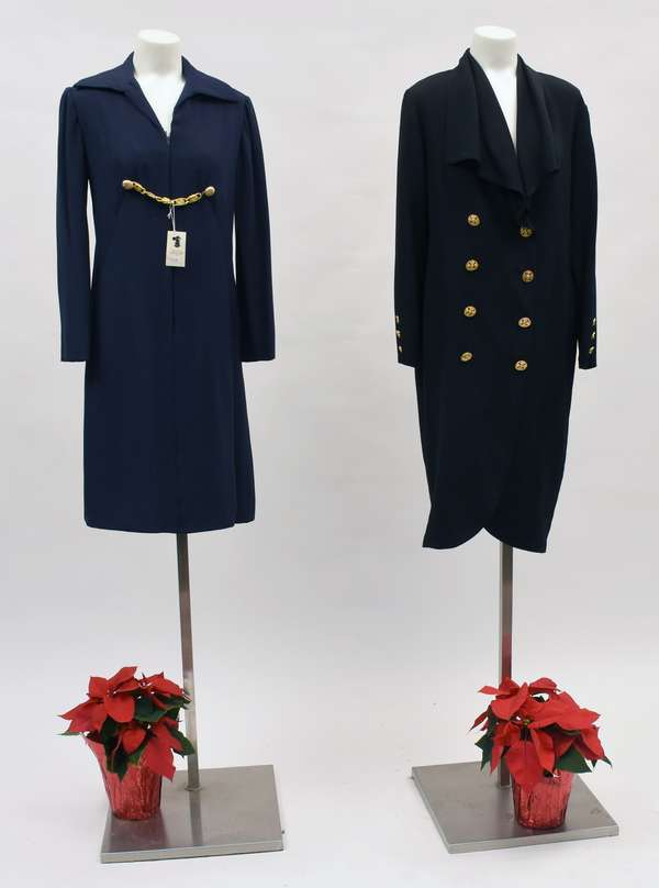 Bill Blass navy blue dress with gold chain, along with an Adolpho black dress with double-breasted gold buttons (518-41)
