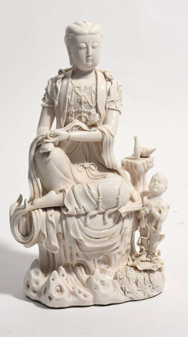 """Chinese blanc de chine figure, 17""""H, some loss to fingers (96-42)"""