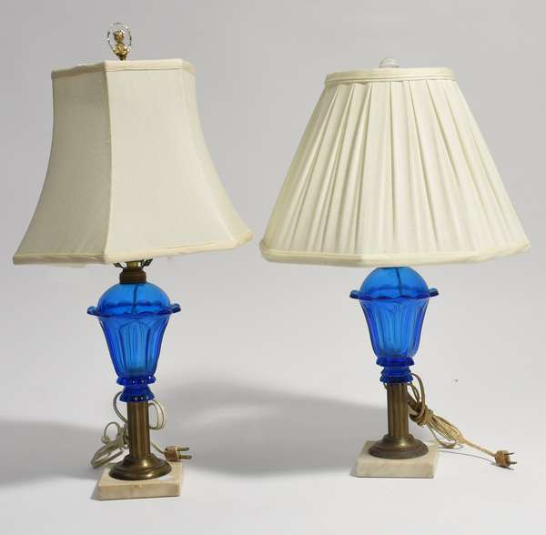 """Pair of good blue glass whale oil lamps, electrified, 11""""H. (105-192)"""
