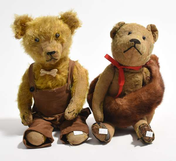 """Two antique teddy bears, one in overalls, 15"""" and 16""""H. (96-36)"""
