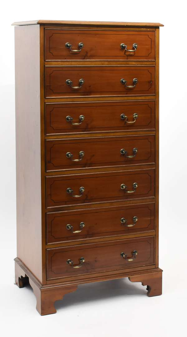 """English yew wood lingerie chest with seven drawers, 54""""H. x 23""""W. x 15.5""""D. (105-178)"""