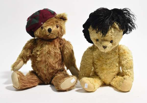 """Two semi antique teddy bears in hats 7"""" and 18""""H. (96-37)"""