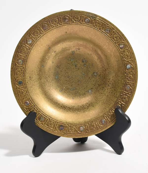 Tiffany Studios gold plate with mother of pearl inlay, #1723 (518-11)
