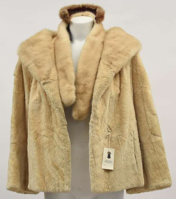 White mink short jacket with tails and headband (512-1)