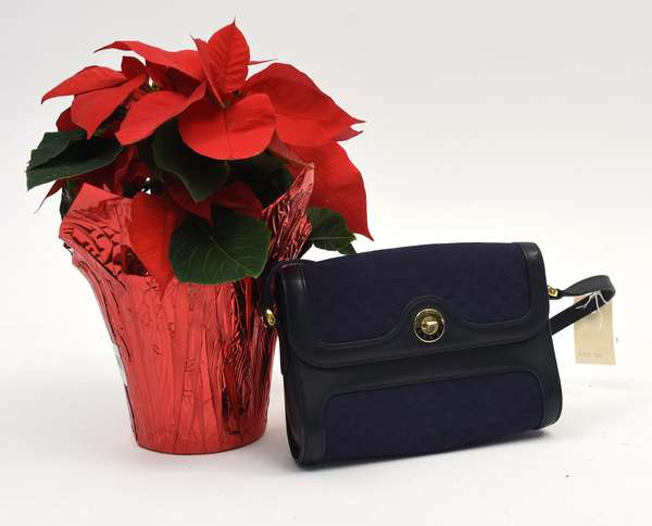 Gucci blue cloth and leather purse (297-39)
