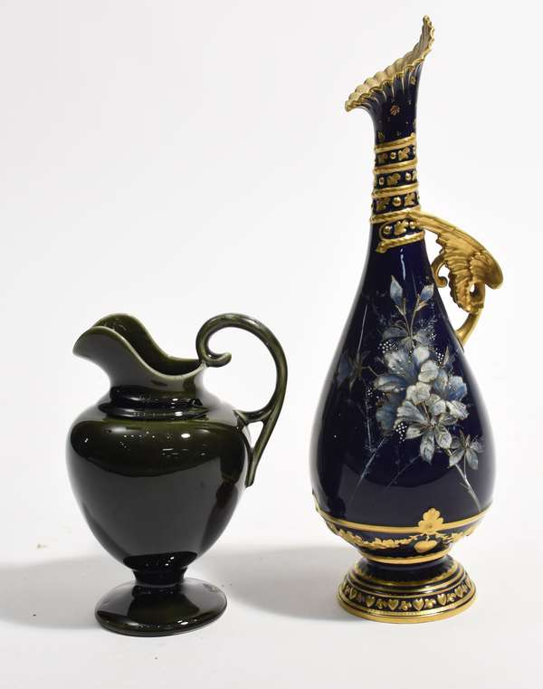 """Royal Worcester vase along with a pottery creamer, 13""""H. and 7"""" (561-9)"""
