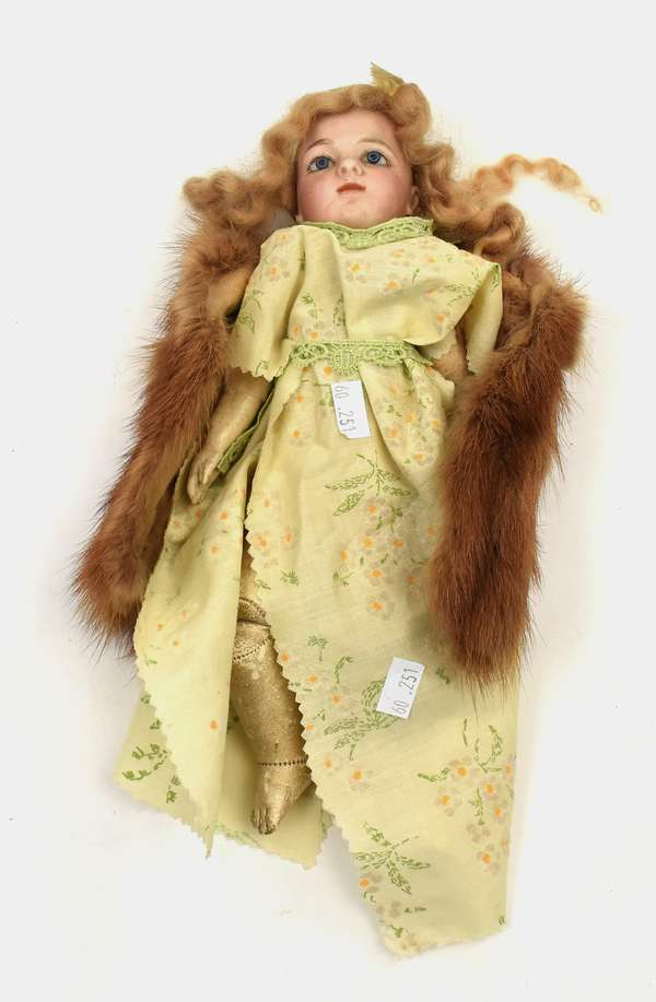 """Small size bisque head doll marked """"Bru"""" with age crack and with kid body, 10""""H. (60-251)"""