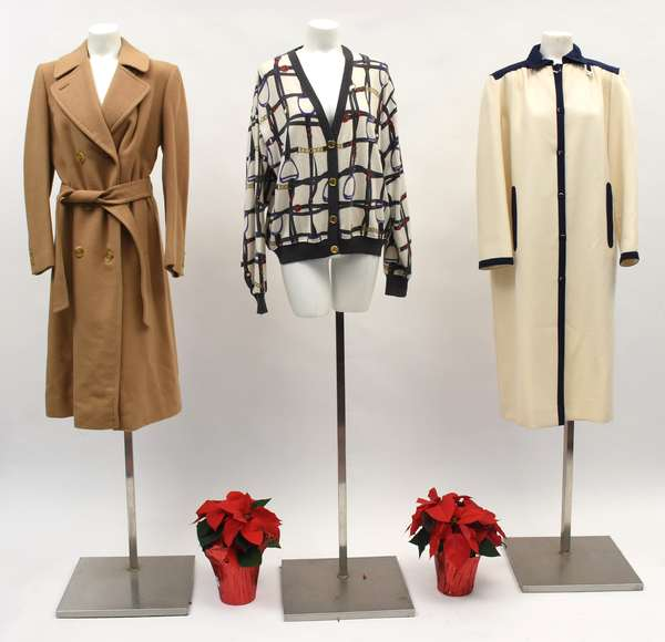 Burberry pure camel hair belted coat, made in England; a Celine Paris sweater with stirrups and bridle motif, made in Italy, and a Correges Paris white coat with black piping (518-42)