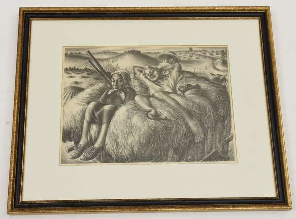 Pencil signed lithograph, children on hay stack (600-4)